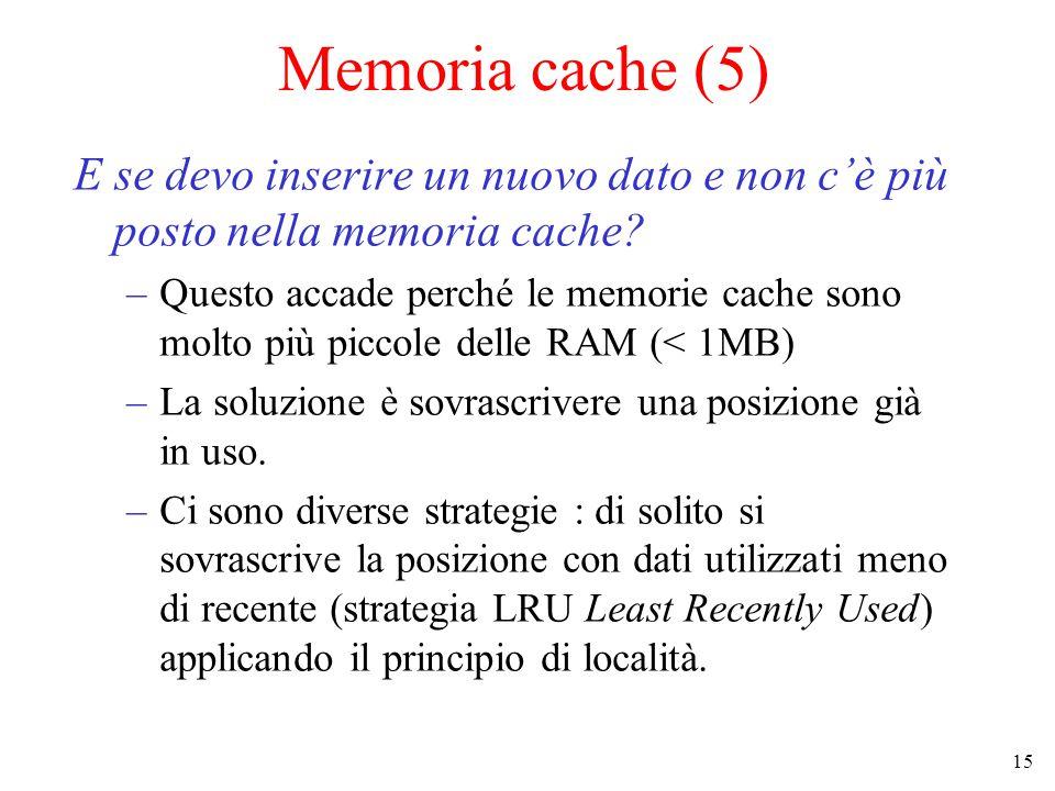 15 Memoria cache (5) E se devo inserire un nuovo dato e non c'è più posto nella memoria cache.