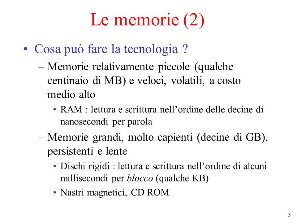 14 Memoria cache (4) Località temporale se un programma accede una parola al tempo t è molto probabile che la stessa parola sia acceduta di nuovo a breve Località spaziale se il programma accede all'indirizzo K è molto probabile che anche gli indirizzi vicini siano acceduti a breve