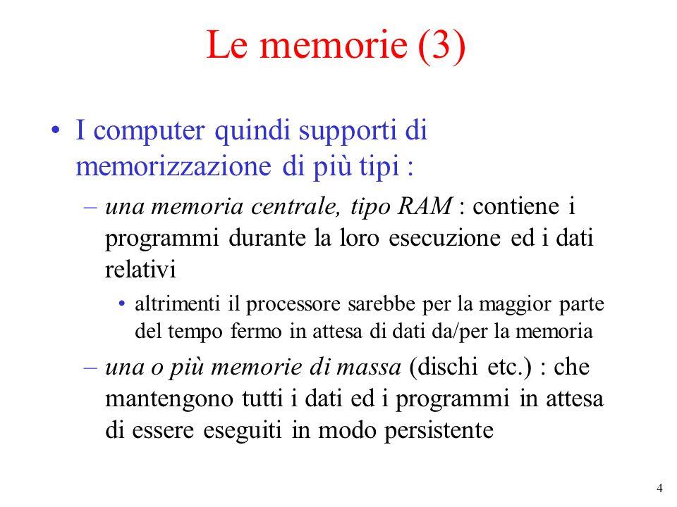 4 Le memorie (3) I computer quindi supporti di memorizzazione di più tipi : –una memoria centrale, tipo RAM : contiene i programmi durante la loro esecuzione ed i dati relativi altrimenti il processore sarebbe per la maggior parte del tempo fermo in attesa di dati da/per la memoria –una o più memorie di massa (dischi etc.) : che mantengono tutti i dati ed i programmi in attesa di essere eseguiti in modo persistente