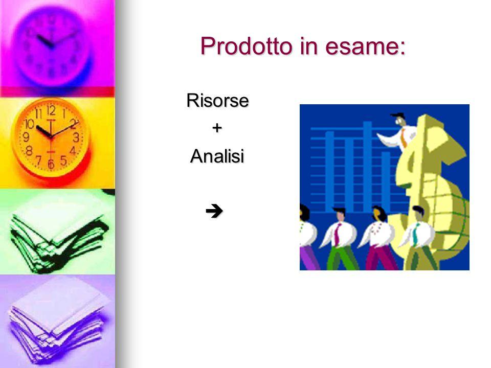 Prodotto in esame: Risorse Risorse + Analisi Analisi 