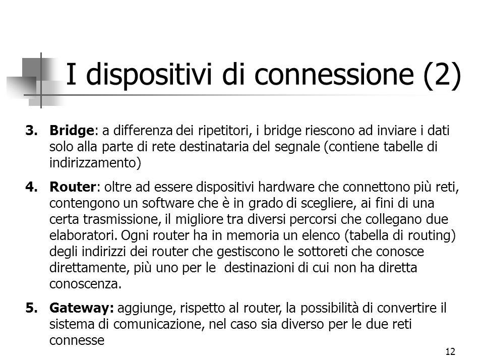 12 I dispositivi di connessione (2) 3.Bridge: a differenza dei ripetitori, i bridge riescono ad inviare i dati solo alla parte di rete destinataria de