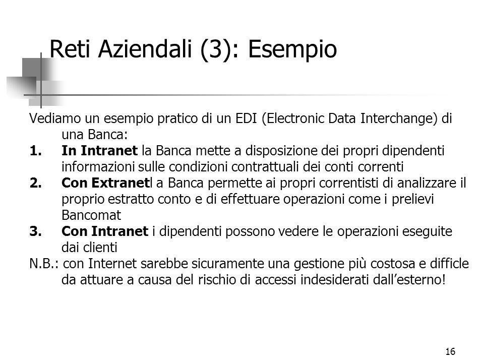 16 Reti Aziendali (3): Esempio Vediamo un esempio pratico di un EDI (Electronic Data Interchange) di una Banca: 1.In Intranet la Banca mette a disposi