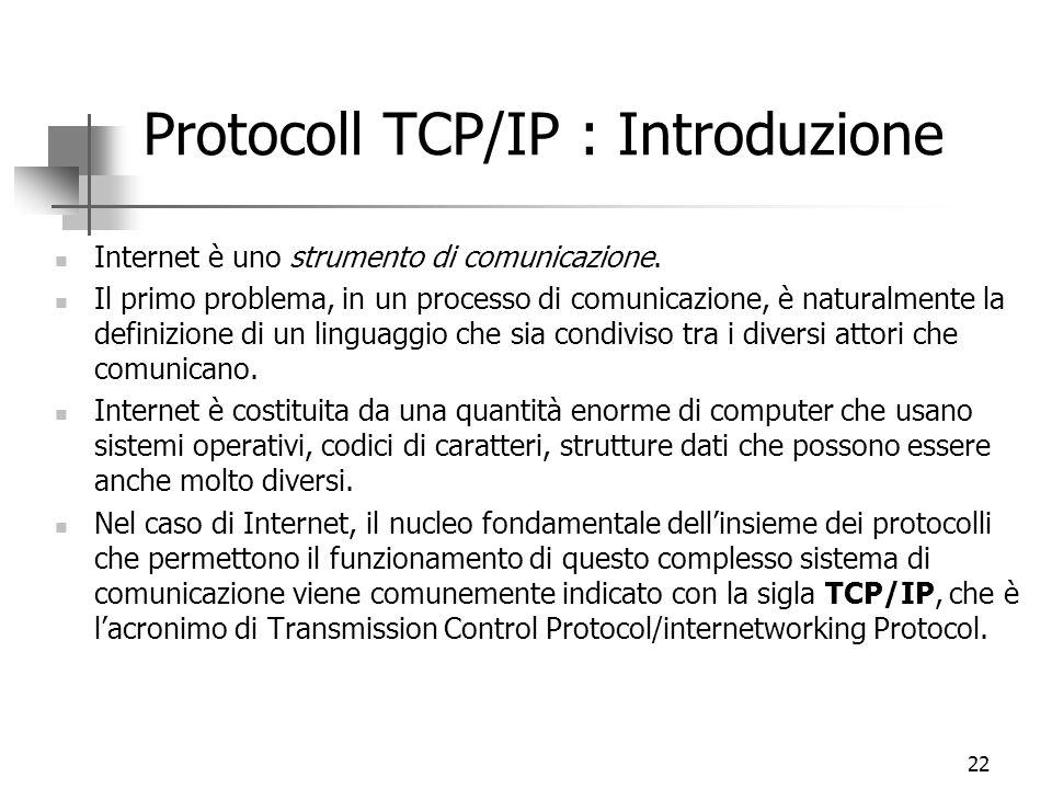 22 Protocoll TCP/IP : Introduzione Internet è uno strumento di comunicazione. Il primo problema, in un processo di comunicazione, è naturalmente la de