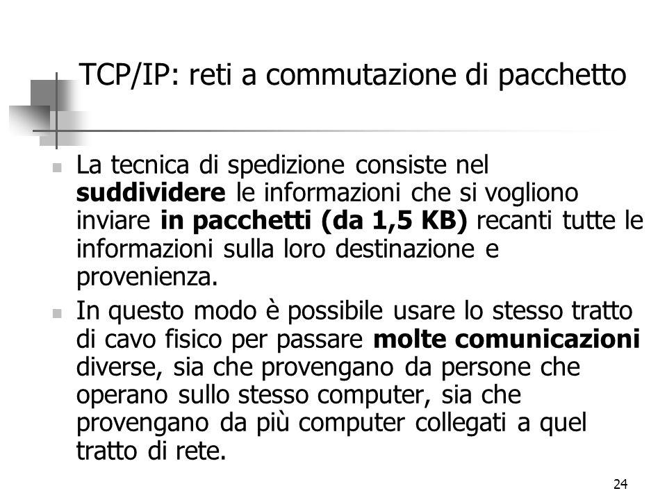 24 TCP/IP: reti a commutazione di pacchetto La tecnica di spedizione consiste nel suddividere le informazioni che si vogliono inviare in pacchetti (da 1,5 KB) recanti tutte le informazioni sulla loro destinazione e provenienza.