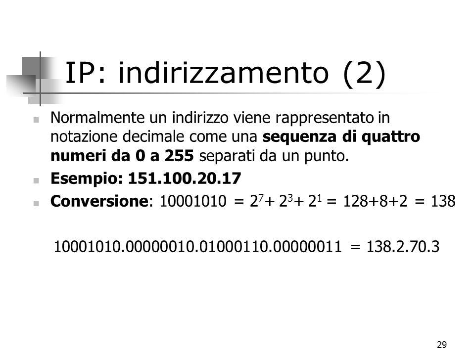 29 IP: indirizzamento (2) Normalmente un indirizzo viene rappresentato in notazione decimale come una sequenza di quattro numeri da 0 a 255 separati da un punto.