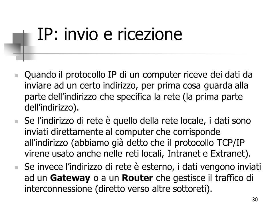30 IP: invio e ricezione Quando il protocollo IP di un computer riceve dei dati da inviare ad un certo indirizzo, per prima cosa guarda alla parte dell'indirizzo che specifica la rete (la prima parte dell'indirizzo).
