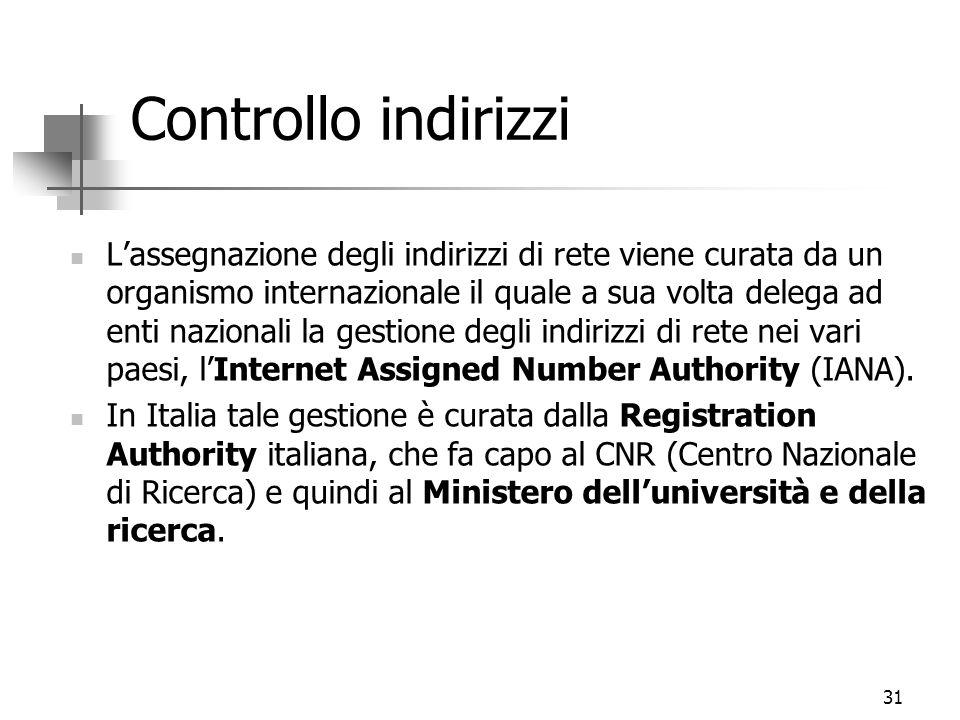 31 Controllo indirizzi L'assegnazione degli indirizzi di rete viene curata da un organismo internazionale il quale a sua volta delega ad enti nazional