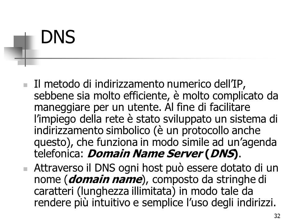 32 DNS Il metodo di indirizzamento numerico dell'IP, sebbene sia molto efficiente, è molto complicato da maneggiare per un utente. Al fine di facilita