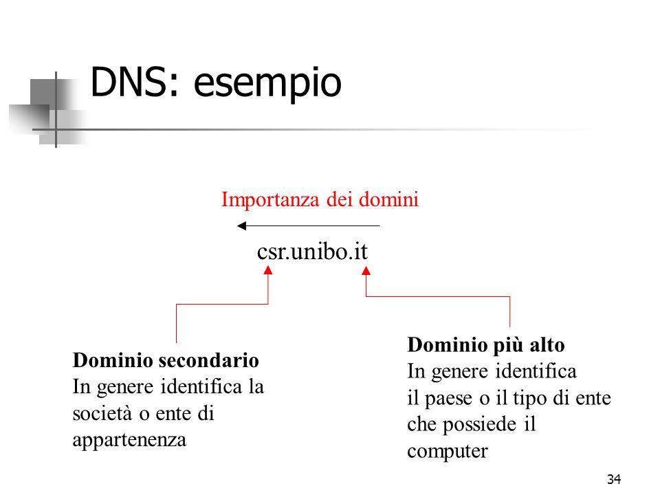 34 DNS: esempio Importanza dei domini csr.unibo.it Dominio più alto In genere identifica il paese o il tipo di ente che possiede il computer Dominio secondario In genere identifica la società o ente di appartenenza