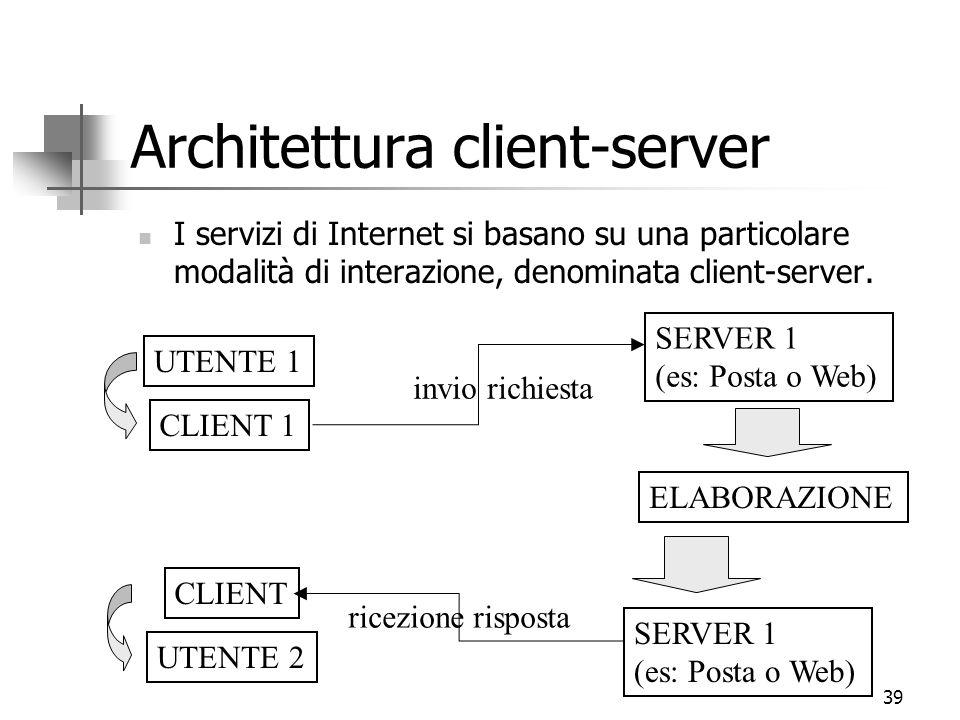 39 Architettura client-server I servizi di Internet si basano su una particolare modalità di interazione, denominata client-server.