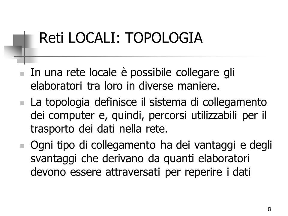 8 Reti LOCALI: TOPOLOGIA In una rete locale è possibile collegare gli elaboratori tra loro in diverse maniere. La topologia definisce il sistema di co
