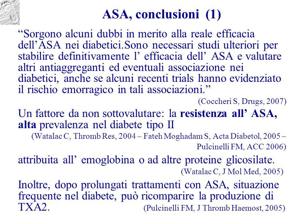 """ASA, conclusioni (1) """"Sorgono alcuni dubbi in merito alla reale efficacia dell'ASA nei diabetici.Sono necessari studi ulteriori per stabilire definiti"""