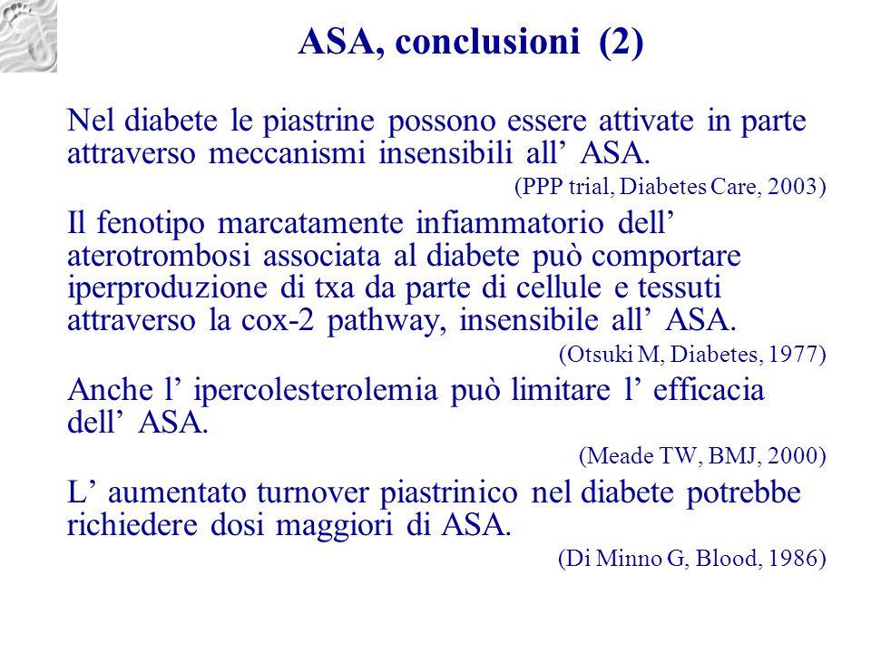 ASA, conclusioni (2) Nel diabete le piastrine possono essere attivate in parte attraverso meccanismi insensibili all' ASA. (PPP trial, Diabetes Care,
