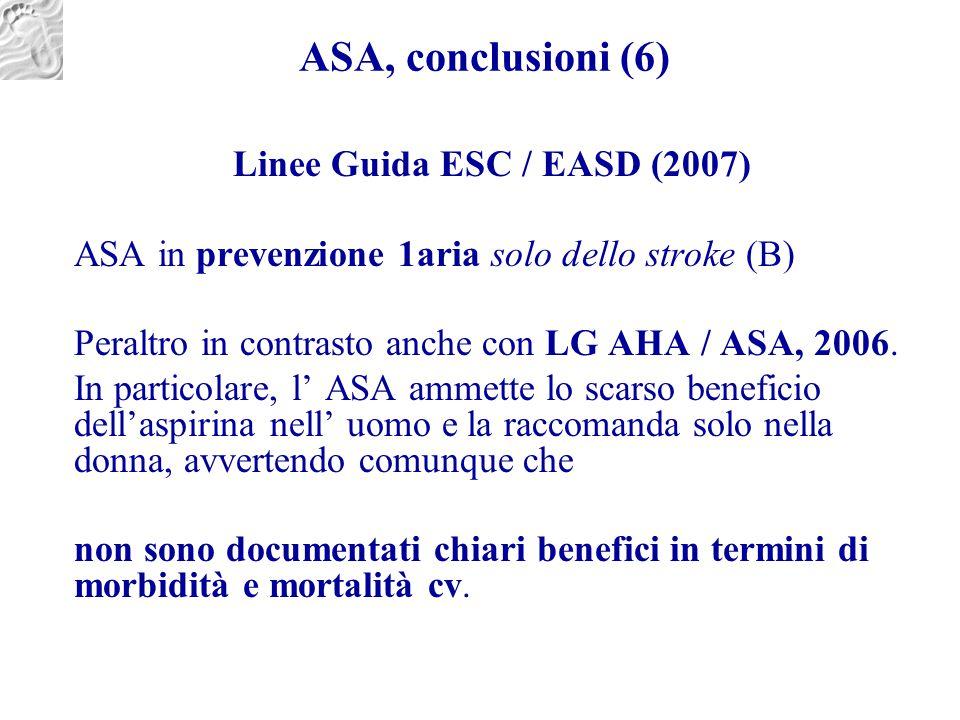 ASA, conclusioni (6) Linee Guida ESC / EASD (2007) ASA in prevenzione 1aria solo dello stroke (B) Peraltro in contrasto anche con LG AHA / ASA, 2006.