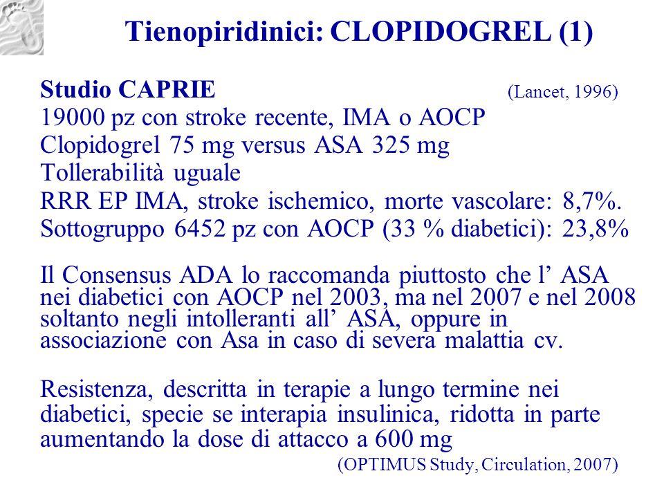 Tienopiridinici: CLOPIDOGREL (1) Studio CAPRIE (Lancet, 1996) 19000 pz con stroke recente, IMA o AOCP Clopidogrel 75 mg versus ASA 325 mg Tollerabilit