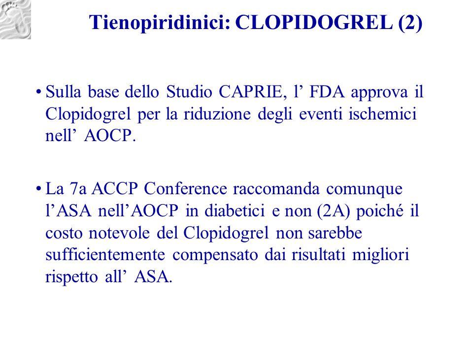 Tienopiridinici: CLOPIDOGREL (2) Sulla base dello Studio CAPRIE, l' FDA approva il Clopidogrel per la riduzione degli eventi ischemici nell' AOCP. La