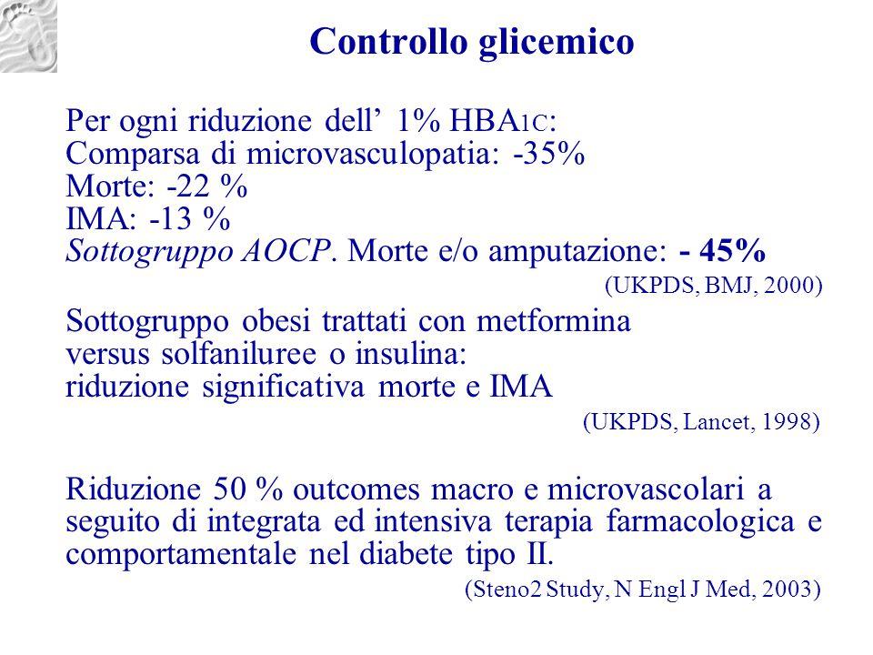 Controllo glicemico Per ogni riduzione dell' 1% HBA 1C : Comparsa di microvasculopatia: -35% Morte: -22 % IMA: -13 % Sottogruppo AOCP. Morte e/o amput