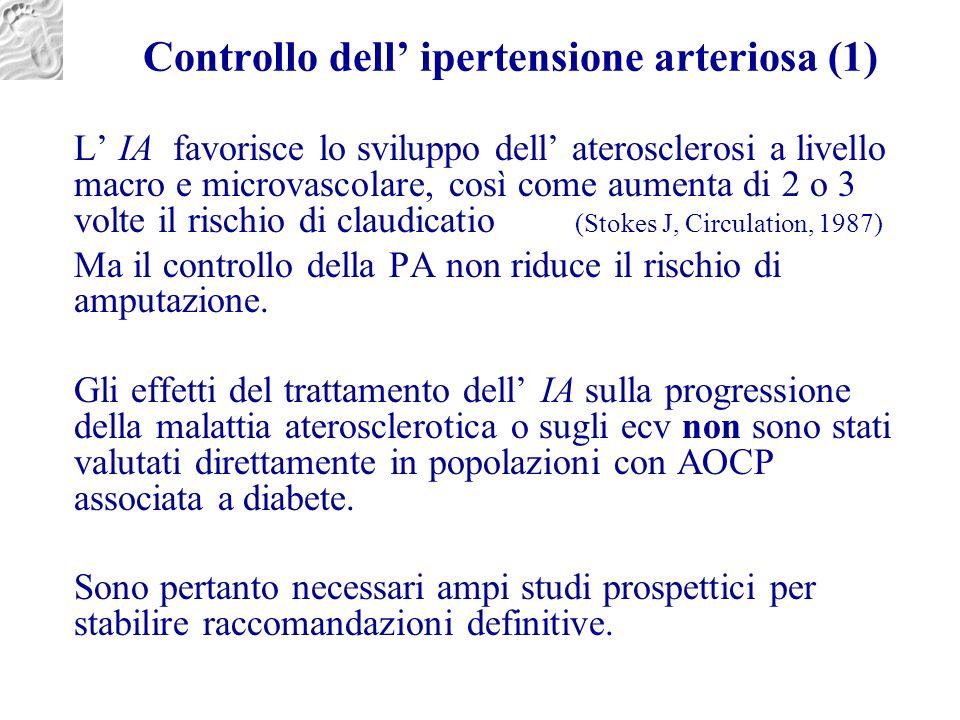 Controllo dell' ipertensione arteriosa (1) L' IA favorisce lo sviluppo dell' aterosclerosi a livello macro e microvascolare, così come aumenta di 2 o