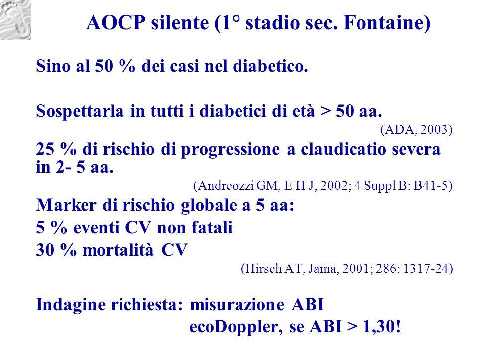 AOCP silente (1° stadio sec. Fontaine) Sino al 50 % dei casi nel diabetico. Sospettarla in tutti i diabetici di età > 50 aa. (ADA, 2003) 25 % di risch