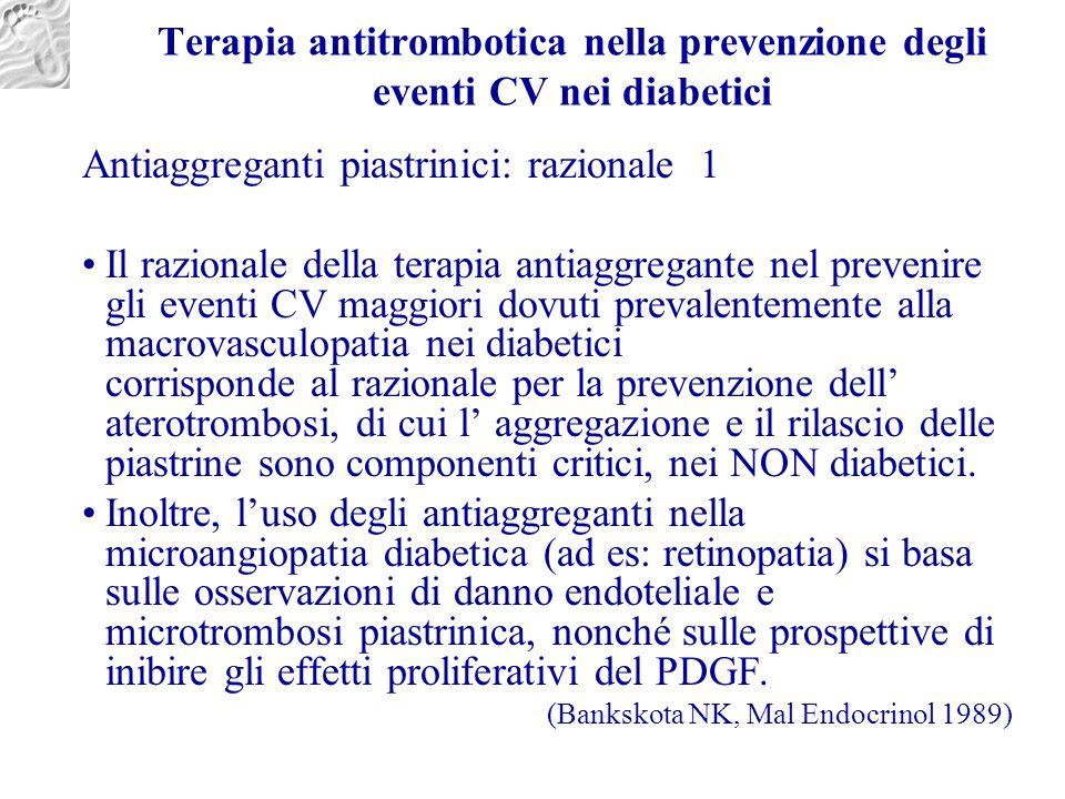 Terapia antitrombotica nella prevenzione degli eventi CV nei diabetici Antiaggreganti piastrinici: razionale 1 Il razionale della terapia antiaggregan