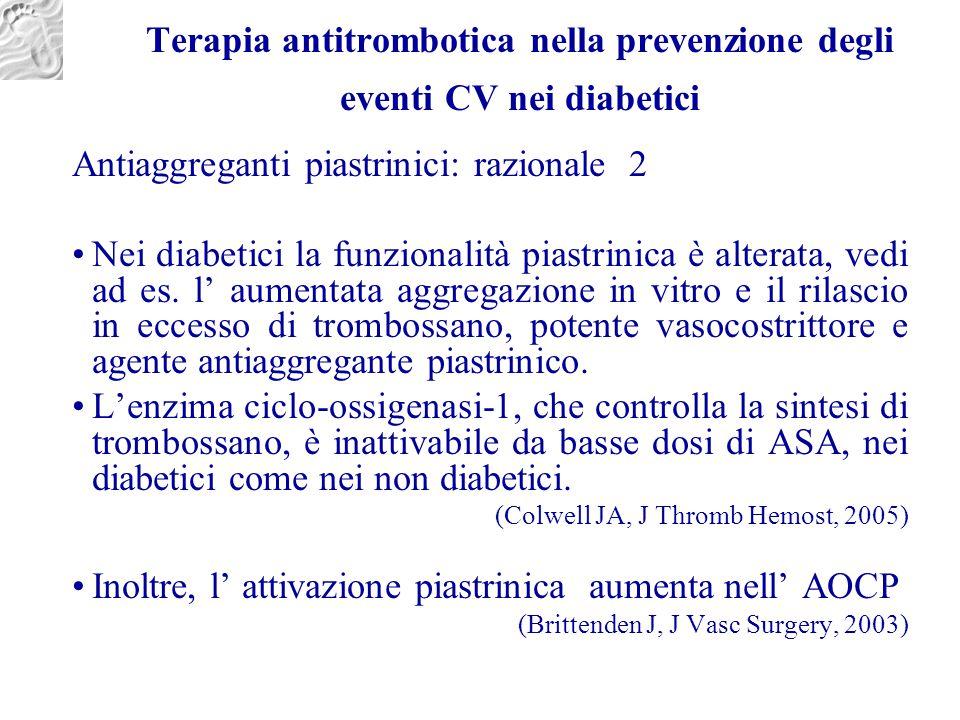 Terapia antitrombotica nella prevenzione degli eventi CV nei diabetici Antiaggreganti piastrinici: razionale 2 Nei diabetici la funzionalità piastrini