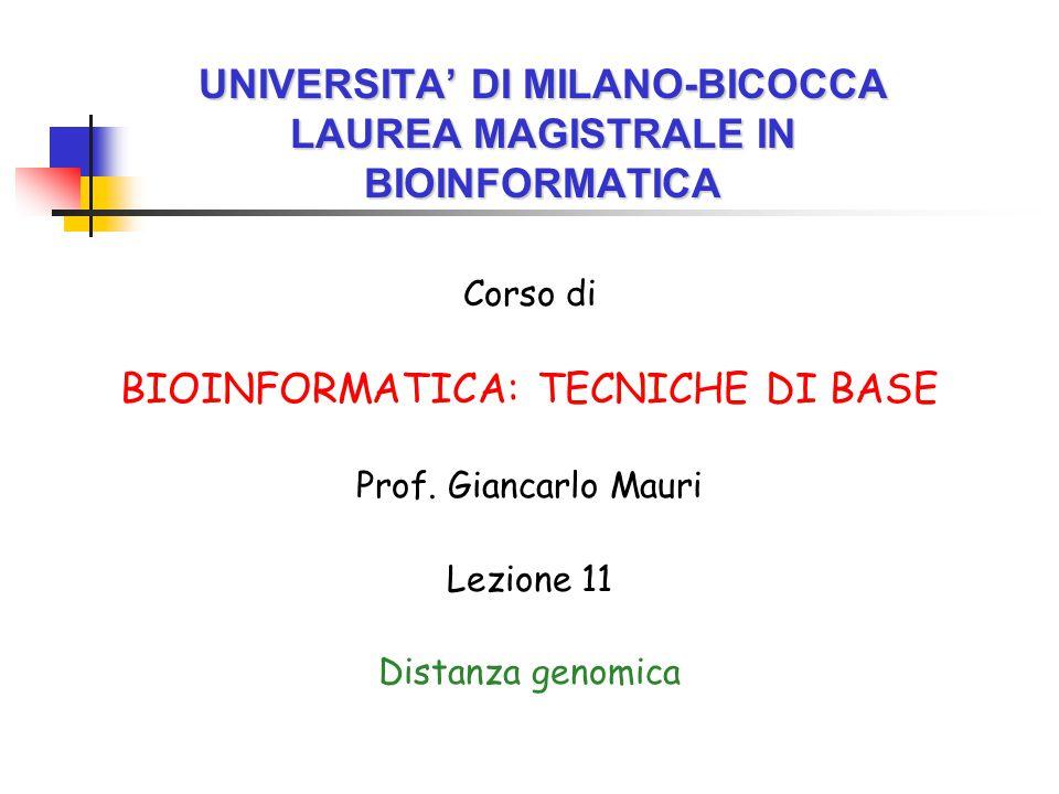 UNIVERSITA' DI MILANO-BICOCCA LAUREA MAGISTRALE IN BIOINFORMATICA Corso di BIOINFORMATICA: TECNICHE DI BASE Prof.