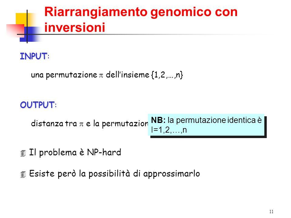 11 Riarrangiamento genomico con inversioni INPUT INPUT: una permutazione  dell'insieme {1,2,…,n} OUTPUT OUTPUT: distanza tra  e la permutazione identica I NB: la permutazione identica è I=1,2,…,n NB: la permutazione identica è I=1,2,…,n 4 Il problema è NP-hard 4 Esiste però la possibilità di approssimarlo