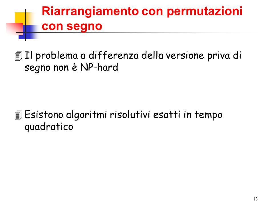 18 4Il problema a differenza della versione priva di segno non è NP-hard 4Esistono algoritmi risolutivi esatti in tempo quadratico Riarrangiamento con permutazioni con segno