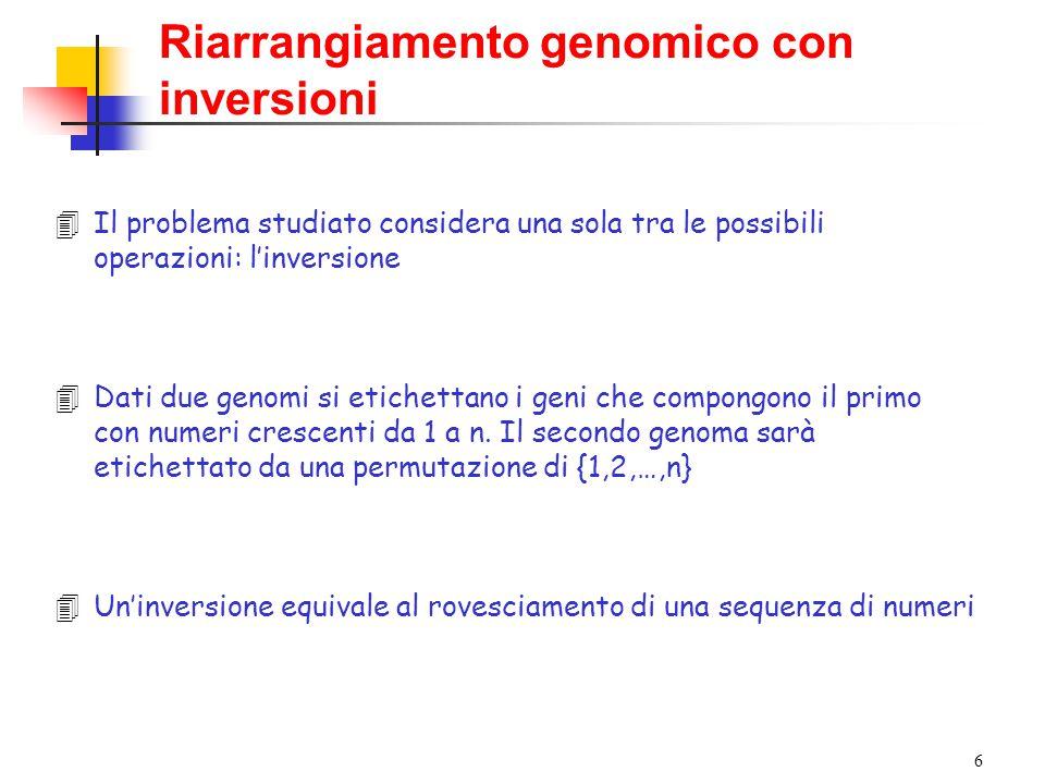 6 4Il problema studiato considera una sola tra le possibili operazioni: l'inversione 4Dati due genomi si etichettano i geni che compongono il primo con numeri crescenti da 1 a n.
