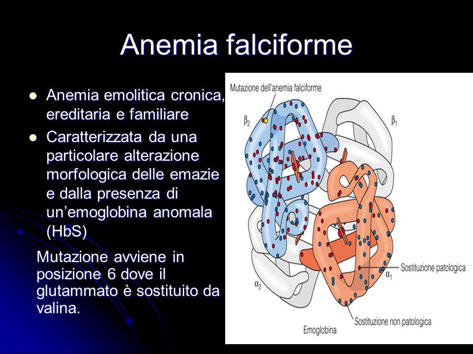 Anemia falciforme Anemia emolitica cronica, ereditaria e familiare Anemia emolitica cronica, ereditaria e familiare Caratterizzata da una particolare alterazione morfologica delle emazie e dalla presenza di un'emoglobina anomala (HbS) Caratterizzata da una particolare alterazione morfologica delle emazie e dalla presenza di un'emoglobina anomala (HbS) Mutazione avviene in posizione 6 dove il glutammato è sostituito da valina.