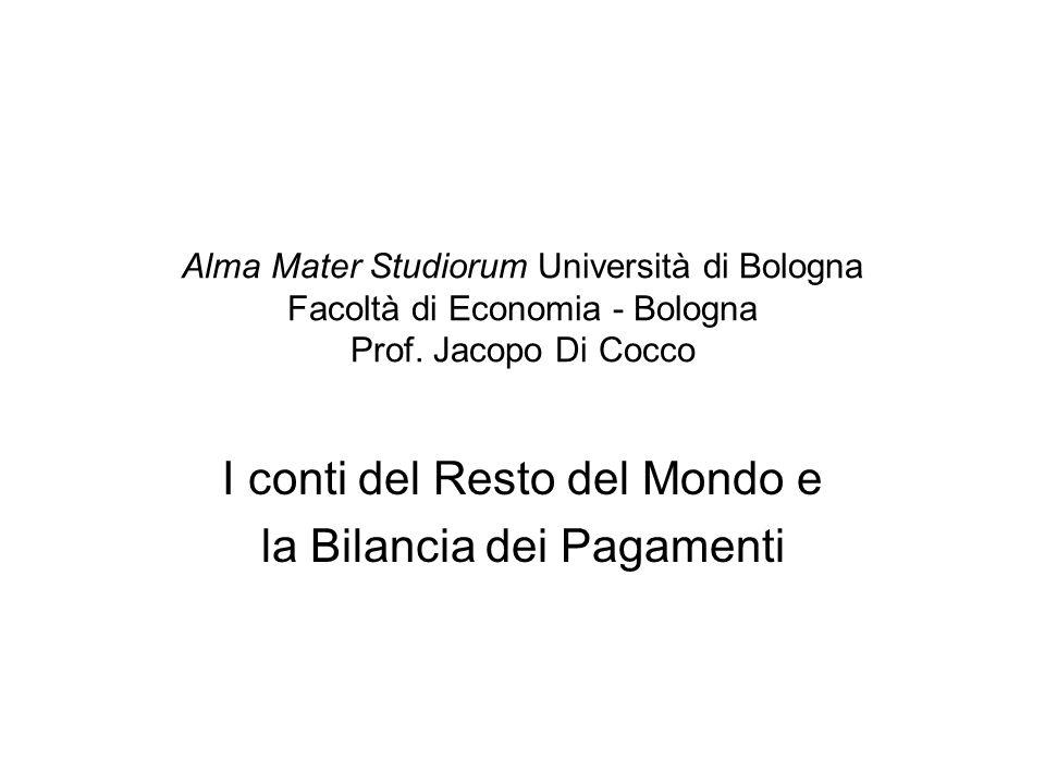 Alma Mater Studiorum Università di Bologna Facoltà di Economia - Bologna Prof. Jacopo Di Cocco I conti del Resto del Mondo e la Bilancia dei Pagamenti