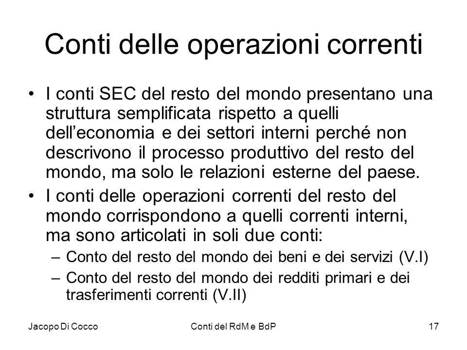 Jacopo Di CoccoConti del RdM e BdP17 Conti delle operazioni correnti I conti SEC del resto del mondo presentano una struttura semplificata rispetto a