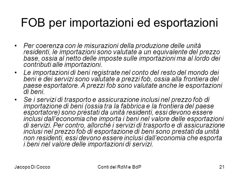 Jacopo Di CoccoConti del RdM e BdP21 FOB per importazioni ed esportazioni Per coerenza con le misurazioni della produzione delle unità residenti, le i