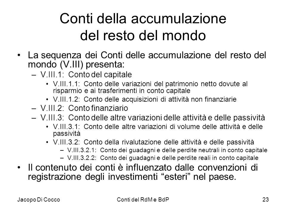 Jacopo Di CoccoConti del RdM e BdP23 Conti della accumulazione del resto del mondo La sequenza dei Conti delle accumulazione del resto del mondo (V.II