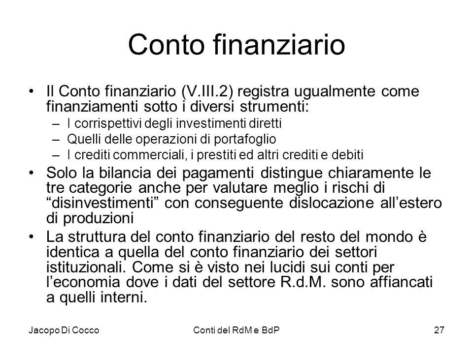 Jacopo Di CoccoConti del RdM e BdP27 Conto finanziario Il Conto finanziario (V.III.2) registra ugualmente come finanziamenti sotto i diversi strumenti