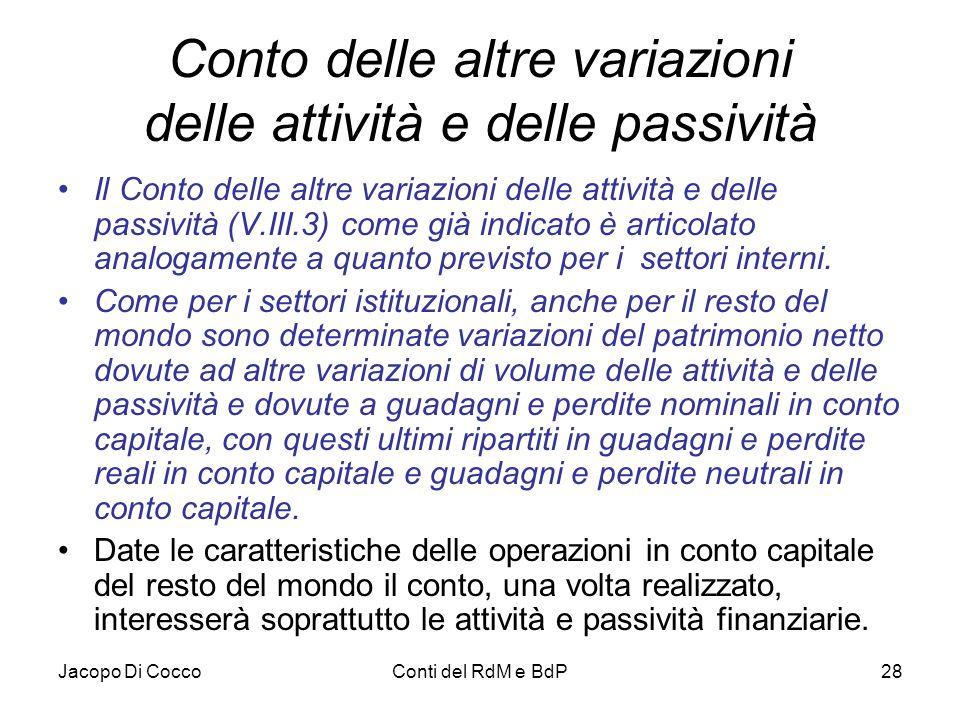 Jacopo Di CoccoConti del RdM e BdP28 Conto delle altre variazioni delle attività e delle passività Il Conto delle altre variazioni delle attività e de