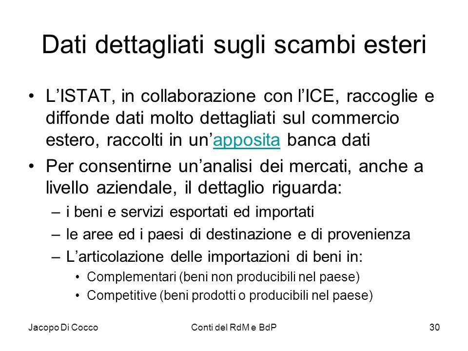 Jacopo Di CoccoConti del RdM e BdP30 Dati dettagliati sugli scambi esteri L'ISTAT, in collaborazione con l'ICE, raccoglie e diffonde dati molto dettag