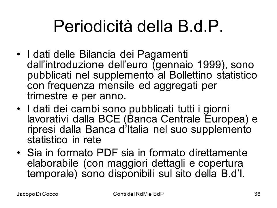 Jacopo Di CoccoConti del RdM e BdP36 Periodicità della B.d.P. I dati delle Bilancia dei Pagamenti dall'introduzione dell'euro (gennaio 1999), sono pub