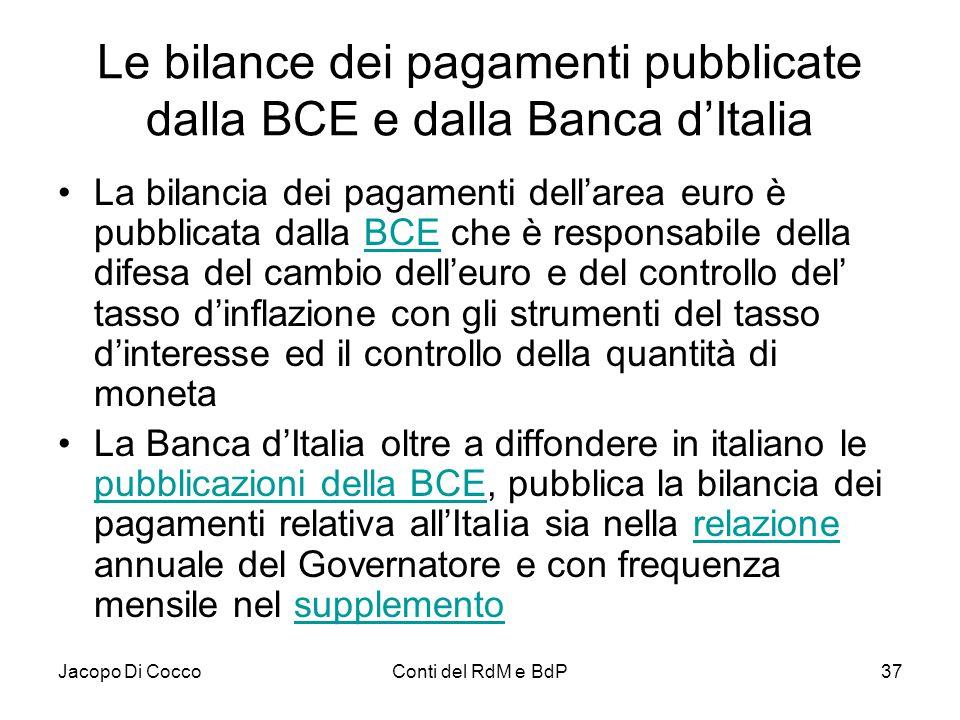 Jacopo Di CoccoConti del RdM e BdP37 Le bilance dei pagamenti pubblicate dalla BCE e dalla Banca d'Italia La bilancia dei pagamenti dell'area euro è p