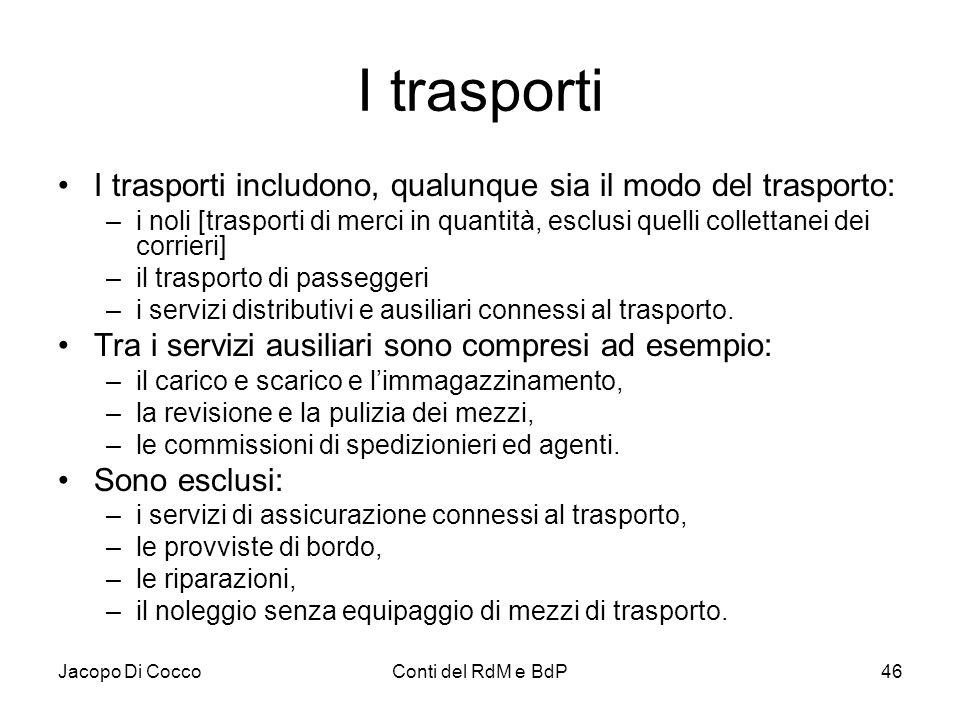 Jacopo Di CoccoConti del RdM e BdP46 I trasporti I trasporti includono, qualunque sia il modo del trasporto: –i noli [trasporti di merci in quantità,