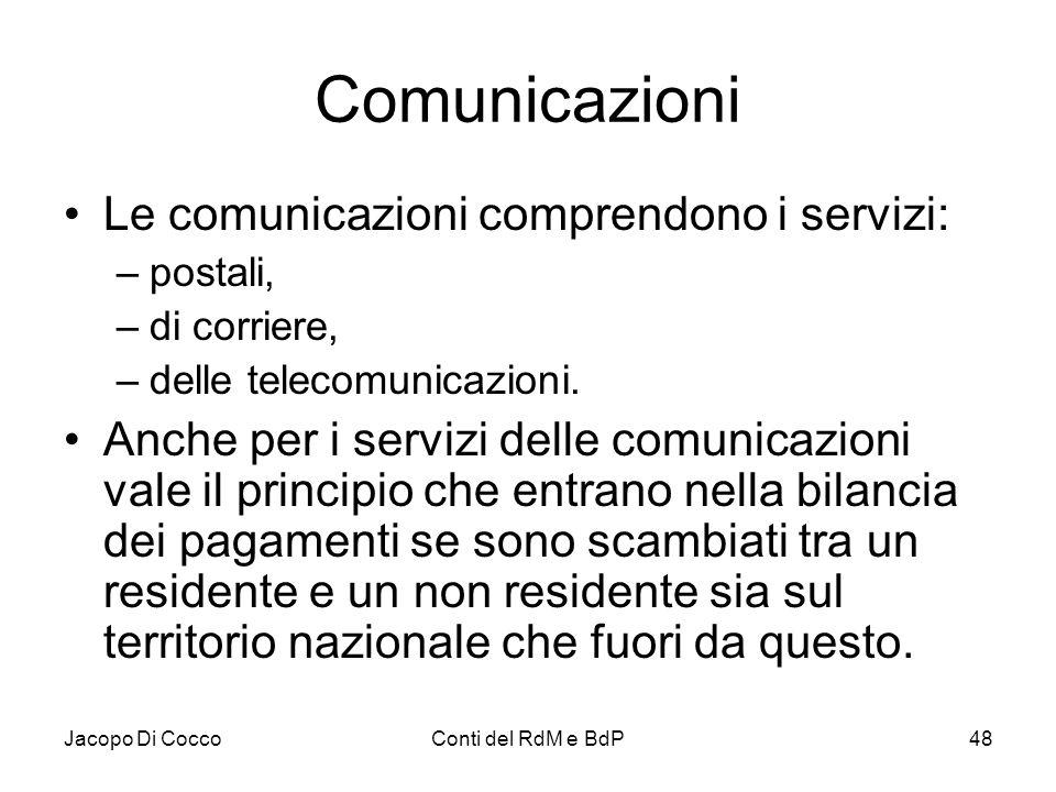 Jacopo Di CoccoConti del RdM e BdP48 Comunicazioni Le comunicazioni comprendono i servizi: –postali, –di corriere, –delle telecomunicazioni. Anche per