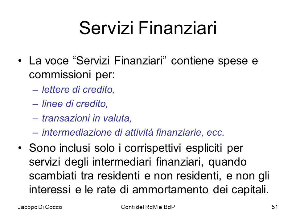 """Jacopo Di CoccoConti del RdM e BdP51 Servizi Finanziari La voce """"Servizi Finanziari"""" contiene spese e commissioni per: –lettere di credito, –linee di"""