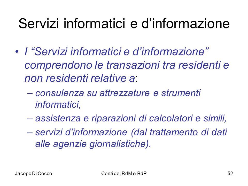 """Jacopo Di CoccoConti del RdM e BdP52 Servizi informatici e d'informazione I """"Servizi informatici e d'informazione"""" comprendono le transazioni tra resi"""