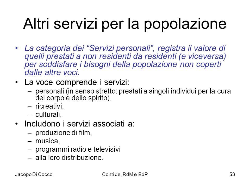 """Jacopo Di CoccoConti del RdM e BdP53 Altri servizi per la popolazione La categoria dei """"Servizi personali"""", registra il valore di quelli prestati a no"""