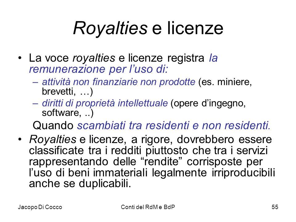 Jacopo Di CoccoConti del RdM e BdP55 Royalties e licenze La voce royalties e licenze registra la remunerazione per l'uso di: –attività non finanziarie