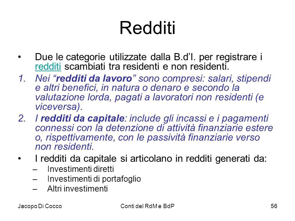 Jacopo Di CoccoConti del RdM e BdP56 Redditi Due le categorie utilizzate dalla B.d'I. per registrare i redditi scambiati tra residenti e non residenti