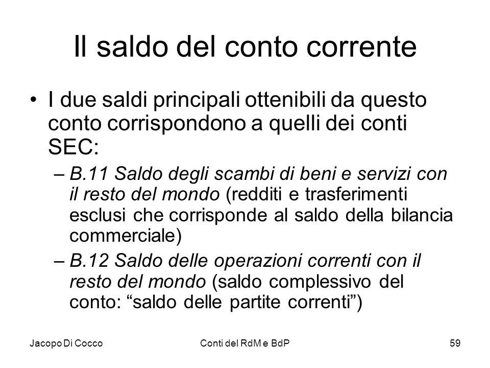 Jacopo Di CoccoConti del RdM e BdP59 Il saldo del conto corrente I due saldi principali ottenibili da questo conto corrispondono a quelli dei conti SE
