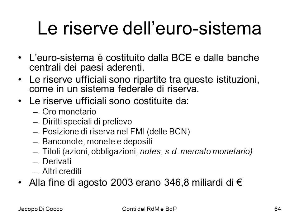 Jacopo Di CoccoConti del RdM e BdP64 Le riserve dell'euro-sistema L'euro-sistema è costituito dalla BCE e dalle banche centrali dei paesi aderenti. Le
