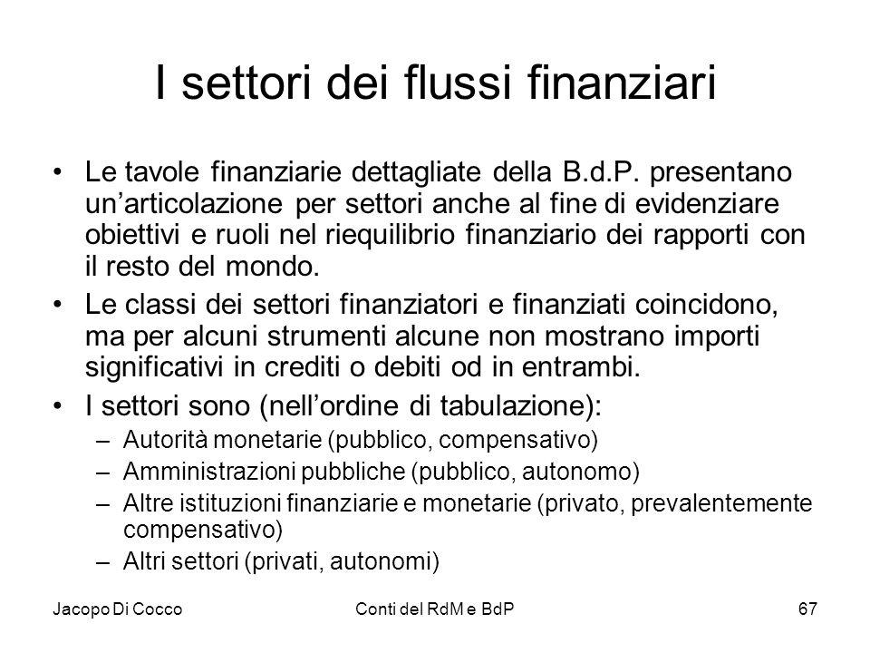 Jacopo Di CoccoConti del RdM e BdP67 I settori dei flussi finanziari Le tavole finanziarie dettagliate della B.d.P. presentano un'articolazione per se