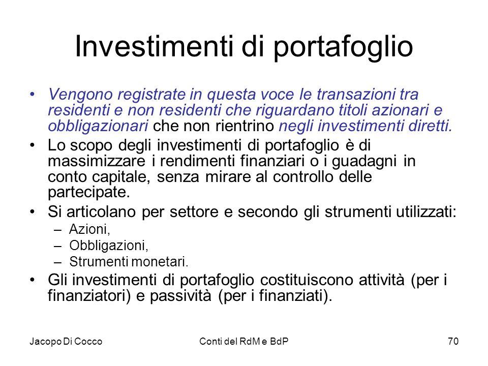 Jacopo Di CoccoConti del RdM e BdP70 Investimenti di portafoglio Vengono registrate in questa voce le transazioni tra residenti e non residenti che ri